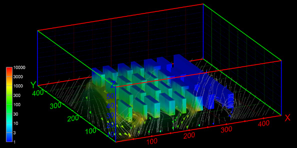 The VADIS simulation data used in this visualization was created by the GEMAC team at the Universidade de Aveiro under the direction of Prof. Carlos Borrego. GEMAC developed VADIS, a true 3D street-canyon model coupling boundary layer flow with Lagrangian dispersion to simulate urban air pollution in city centers. It was specifically targeted at street-canyon pollutant dispersion such as this model of downtown Lisbon, whose air quality problems are largely due to intense traffic