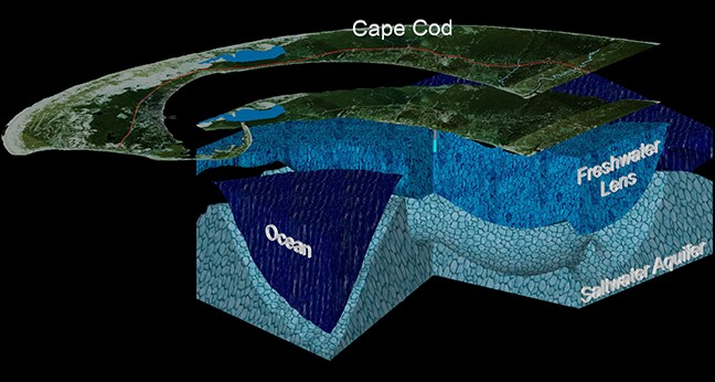 Robin Hughes of McLane Environmental developed this model of Cape Cod's freshwater lens aquifer system to illustrate to the public and decision makers the effects of ground water pumping on the region's freshwater aquifer system. Regional lens thinning and localized saltwater upconing of the interface between fresh and salt water beneath well fields is illustrated.