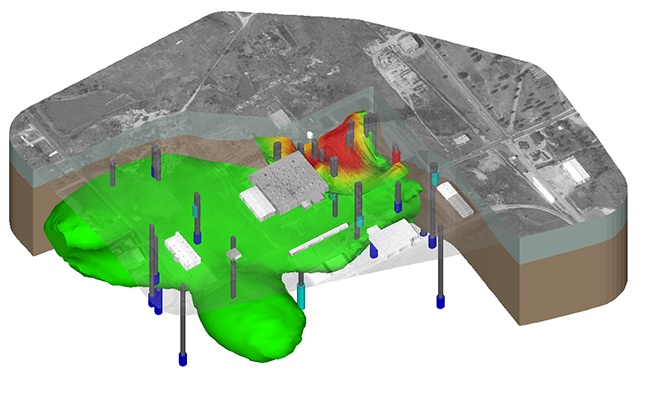 The model above shows Trichloroethylene groundwater contamination at the Vickers site in Missouri includes three-dimensional buildings and an aerial photo. The unsaturated and saturated zones are cut away to reveal TCE displayed with monitoring well screens colored by concentration and plumes at 15, 30 and 50 micrograms per liter. The data was provided courtesy of Patrick Quinn at the Missouri Department of Natural Resources Hazardous Waste Program.