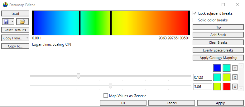 What is the color standard used in the datamap editor in